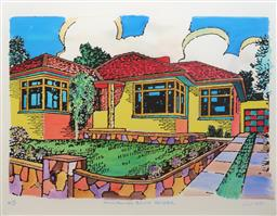 Sale 9199J - Lot 34 - Howard Arkley - Triple Fronted Brick Veneer 92cm x 117cm