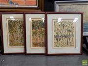 Sale 8410T - Lot 2076 - John Bloomfield (XX) (3 works) - Kakadu Scrub, Kakadu Sedge Land; Gully & Trees 35 x 27.5cm, each (frame size: 59 x 51.5cm, each)