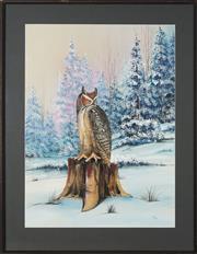 Sale 8762 - Lot 2036 - Artist Unknown - Snow Owl 62 x 46cm