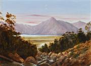 Sale 8764A - Lot 5058 - Charles Bloomfield (1848 - 1926) - Lake Te Anau, New Zealand c1880 35 x 45cm