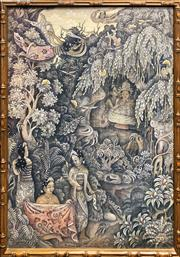 Sale 8878 - Lot 2044 - Artist Unknown (Ubud School) Rajapala acrylic on cotton , 92 x 70cm (frame), signed and inscribed lower left -