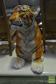 Sale 8284 - Lot 1071 - Ceramic Crouching Tiger (repair to face)