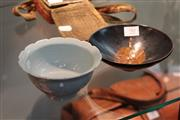 Sale 8324 - Lot 90 - Qingbai Style Cup & Leaf Patterned Dish