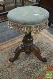 Sale 8345 - Lot 1015 - Victorian Carved Walnut Piano Stool, the upholstered revolving top with fringe