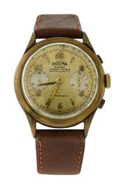 Sale 8522A - Lot 52 - An early Swiss made two button chronograph wristwatch, circa 1950s, in gold plated case, tachymeter dial, 36.4 mm, hand winding com...