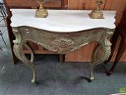 Sale 8598 - Lot 1002 - French Style Painted & Carved Serpentine Front Console Table, with white marble top & cabriole legs (92 x 127 x 51.5cm)