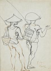 Sale 8732 - Lot 580 - Donald Friend (1915 - 1989) - Study: Balinese Boys 18 x 13cm