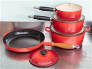 Sale 8891H - Lot 64 - Four pieces of Le Creuset cookware, to include a frying pan, lidded saucepans, etc.