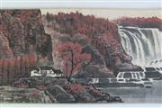 Sale 8902C - Lot 602 - Chinese Scroll Featuring Waterfalls and Mountains (L363cm)
