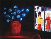 Sale 9047A - Lot 5069 - Charles Blackman (1928 - 2018) - Blue Bouquet & Window 28.5 x 39 cm (frame: 52 x 62 x 3 cm)