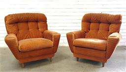 Sale 9117 - Lot 1053 - Pair of vintage upholstered lounge chairs in orange fabric (h:83 x w:90 x d:45cm)