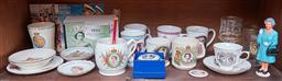 Sale 9103M - Lot 497 - A shelf lot of British Royal Family wares including Royal Winton mug, Worcester pin dish, 1954 royal tour jubilee stamp collection.