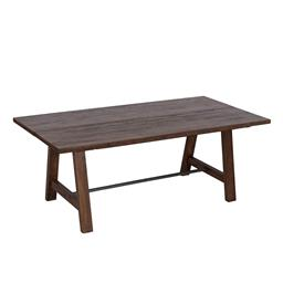 Sale 9140F - Lot 97 - Solid fruit wood timber dining table with metal stretcher base featuring two piece timber top timber. Dimensions: W200 x D100 x H76 cm