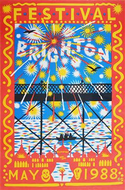 Sale 9157S - Lot 5021 - MARTIN SHARP (1942 - 2013) Festival Brighton, 1988 screenprint (unframed) 76 x 51 cm signed in print