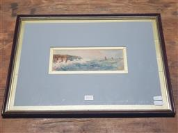 Sale 9155 - Lot 2047 - Edmund Gouldsmith  Coastal Scene & Sailing Boats, water colour, frame: 36 x 48 cm, signed lower left -
