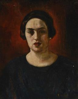 Sale 9170A - Lot 5047 - ARTIST UNKNOWN (C20TH) Portrait of a Woman oil on canvas (re-lined) 62.5 x 49.5 cm (frame: 74 x 62 x 5 cm) unsigned