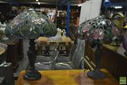 Sale 8398 - Lot 1039 - Floral Leadlight Lamp w Another