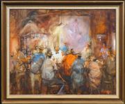 Sale 8420 - Lot 565 - Hugh Sawrey (1919 - 199) - The Beguiling Hour in Rileys Pub, W.Q. 49 x 60cm
