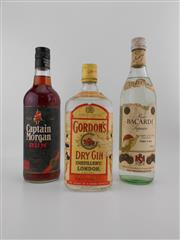 Sale 8498 - Lot 2011 - 3x Old Spirits - Captain Morgan Rum, Bacardi White Rum & Gordon Dry Gin