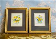 Sale 8577 - Lot 45 - A vintage pair of Susan F Leister gilded framed watercolour floral artworks - Condition: Excellent - Measurements: 18cm wide x 21c...