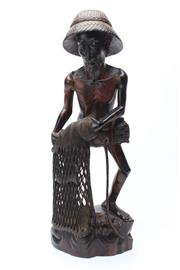 Sale 8747 - Lot 75 - Carved Timber Figure of A Fisherman ( H 52cm)