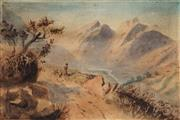 Sale 8764A - Lot 5059 - Attributed to John Gully (1819 - 1888) - In the Southern Alps, New Zealand c1880 17 x 24.5cm