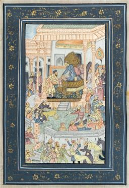 Sale 9164H - Lot 60 - Mughal school, sacrificial scene in front of the emperor, work on silk, unframed, 33cm x 21.5cm