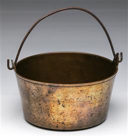 Sale 9173 - Lot 37 - A brass cauldron with swing handle (Dia:23cm)