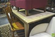 Sale 8347 - Lot 1083 - Recycled Oak Checked Top Dining table