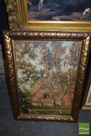 Sale 8509 - Lot 2059 - Artist Unknown, Cottage in Bushscape, oil on canvas on board (af), frame size 61 x 46cm