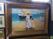 Sale 8619 - Lot 2025 - A Claudie Mother and Daughter at the Beach , acrylic on canvas, 90 x 120cm (frame), signed lower right