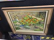 Sale 8690 - Lot 2013 - John Ellison, Nasturtiums, 1982, oil on canvas board, 56 x 66cm (frame size), signed and dated lower right