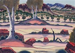 Sale 9141 - Lot 533 - Kevin Namatjira (1958 - 2018) MacDonnell Ranges watercolour 23.5 x 33.5 cm (frame: 55 x 65 x 2 cm) signed lower centre