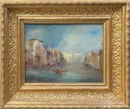 Sale 9103 - Lot 2006 - P. Gillini Venetian Canal Scene oil on board, 29 x 34cm (frame), signed lower left -