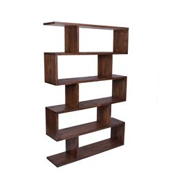 Sale 9140F - Lot 99 - A tall brown open bookcase made from fruitwood. Dimensions: W127 x D37 x H186 cm