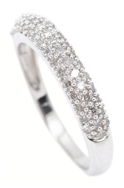Sale 9213 - Lot 372 - A 10CT WHITE GOLD HALF HOOP DIAMOND RING; 3.6mm wide band pave set across the top with 49 single cut diamonds, width 3.5mm, size N1/...
