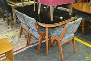 Sale 8338 - Lot 1016 - Maple Dining Table with Black Glass Top & Six Dining Chairs