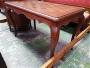 Sale 8598 - Lot 1055 - French Oak Parquetry Top Rectangular Coffee Table, on cabriole legs (H:61 L:98 W:55cm)