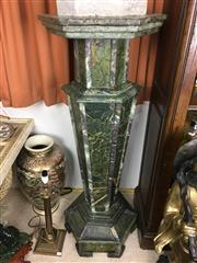 Sale 8730B - Lot 97 - Pair of Large Green Marble Pedestals H: 128cm
