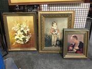 Sale 8750 - Lot 2092 - 4 Works: G.Davies - Lilies, oil on board, SLR with 3 Prints