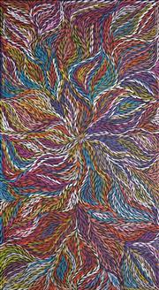 Sale 8755 - Lot 550 - Rosemary (Pitjara) Petyarre (c1965 - ) - Yam Leaf Dreaming 201 x 110cm