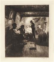 Sale 8794A - Lot 5074 - Ferdinand Schmutzer (1870 - 1928) (3 works) - Barber Shop; Female Nude; Reprimand 22 x 18.5cm; 24 x 12cm; 11.5 x 9cm