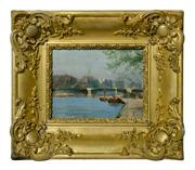 Sale 8828A - Lot 17 - Henry Charry 1878-1962 French, Impressionist school small oil on board unsigned  14 x 18 cm in fancy gilt frame.
