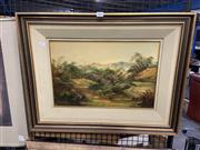 Sale 8924 - Lot 2096 - Norman Robbins - 'Blue Hills', oil on board, 29 x 44.5cm, signed lower left -