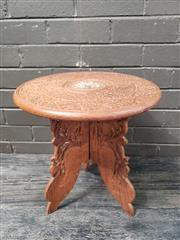 Sale 8962 - Lot 1022 - Small Indian Carved Timber Side Table (H:40 x D:38.5cm)