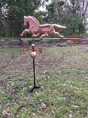 Sale 9015G - Lot 53 - Copper Horse Weathervane with Adjustable Roof Mount,General Wear , Slight Denting ,Slight Seperation on Edge , Surface Rust on Pole....