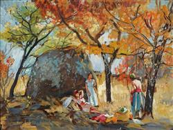 Sale 9096A - Lot 5006 - Harry Marriot-Burton (1882 - 1979) - Autumn Picnic 39 x 51 cm (frame: 45 x 58 x 2 cm)
