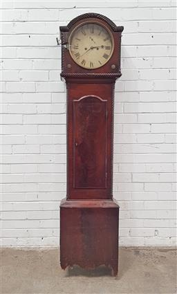Sale 9126 - Lot 1022 - Regency Mahogany Longcase Clock, with two train movement, the painted dial with seconds, in a broken arch hood with gadrooned edges,...