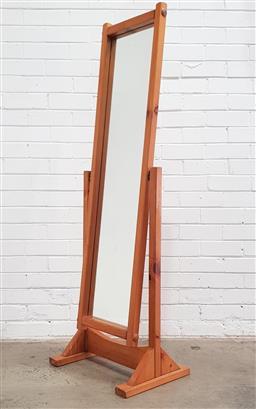 Sale 9108 - Lot 1046 - Pine cheval mirror (h:158cm)
