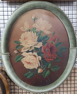 Sale 9155 - Lot 2049 - Artist Unknown  Still Life - Roses, oil on board, frame: 59 x 48 cm, initialled indistinctly lower right -